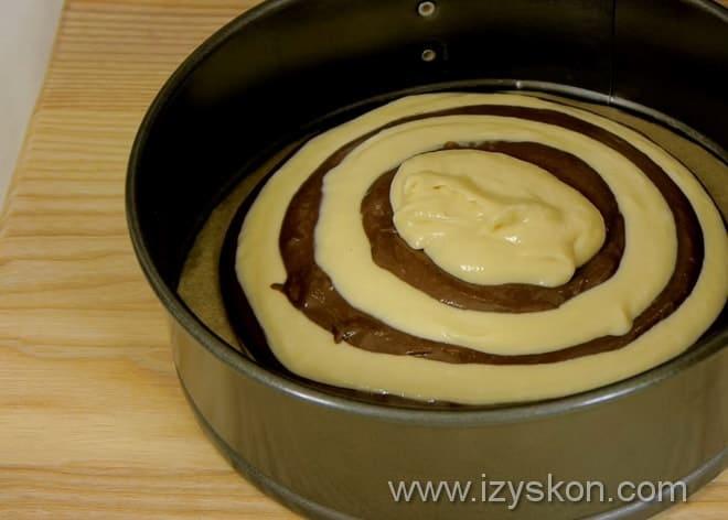 Как сделать узор в виде зебры выпекая пирог на сметане