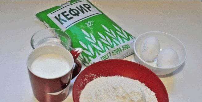 Ингредиенты для приготовления блинов на кефире