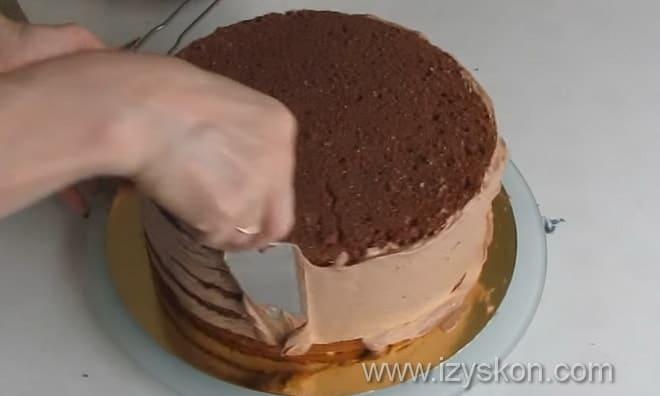 Как сделать выравнивание торта ганашем пошаговая иллюстрация