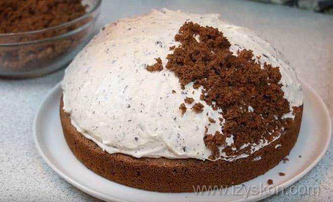 Покрываем торт Норка крота крошками согласно рецепту с фото пошагово