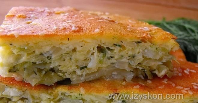 Как делается капустная начинка для заливного пирога на кефире