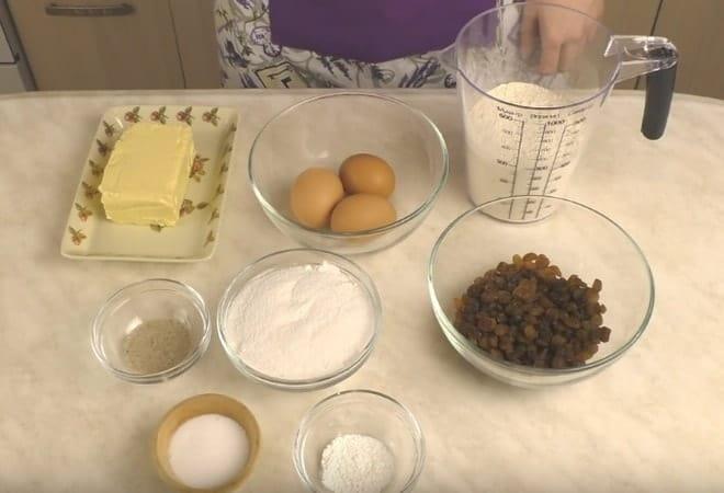 Необходимые продукты для приготовления классического кекса