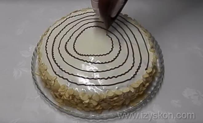 Украшаем торт Эстерхази по пошаговому рецепту