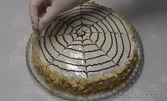 Рисуем паутинку на торте Эстерхази по рецепту с фото
