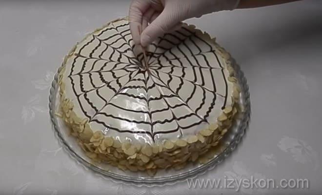 Делаем рисунок на торте Эстерхази оп рецепту с фото пошагово
