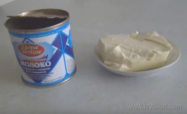 Чтобы приготовить масляный крем со сгущенкой для торта, нам понадобится всего два ингредиента.