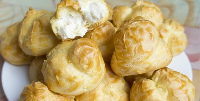 Пошаговый рецепт приготовления профитролей с начинкой