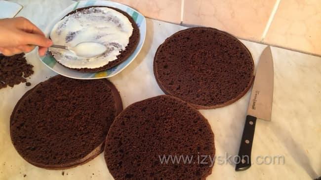 Для приготовления торта на кефире со сметанным кремом смажьте бисквит кремом.