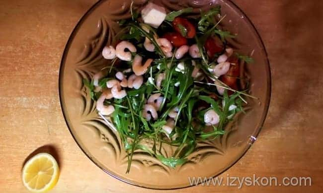 Готовим вкусный салат с рукколой и креветками