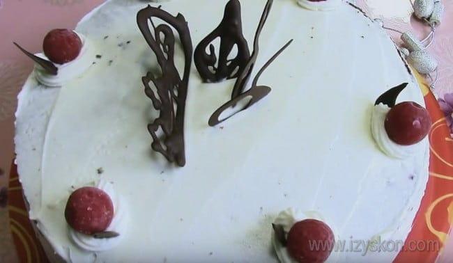 """Торт """"Зимняя вишня"""" с шоколадным бисквитом можно украшать шоколадом и орехами."""