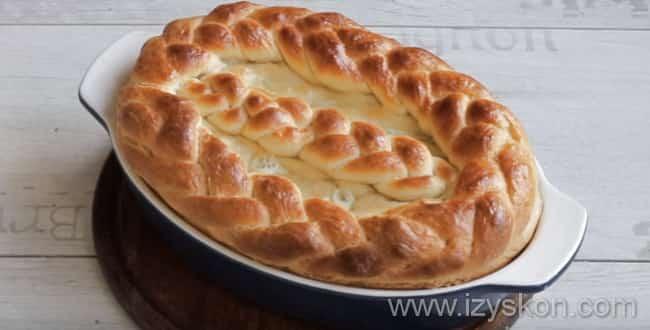 Дрожжевой пирог с капустойвыпекаемв духовкеоколо часа