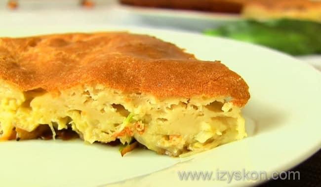 Вот такой пирог с капустой у нас получился на скорую руку по простому рецепту