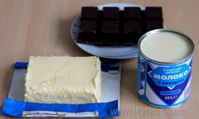 Для приготовления сливочно-шоколадного крема для вашего торта возьмем такие ингредиенты