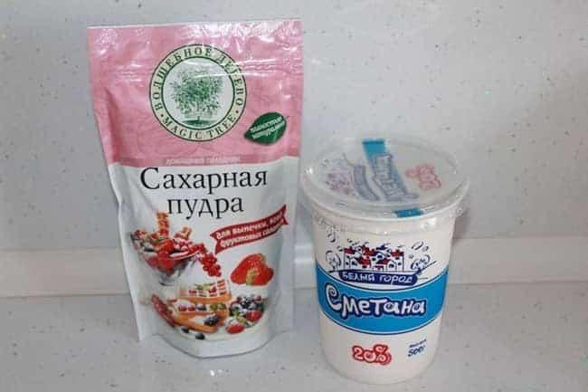 Для приготовления сметанного крема возьмем такие ингредиенты