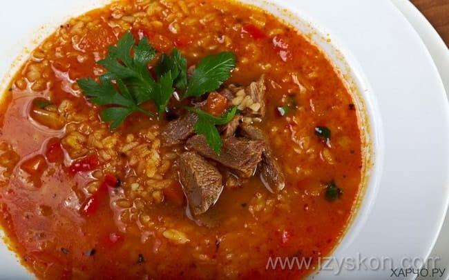 Вкусный суп харчо со свининой готов.