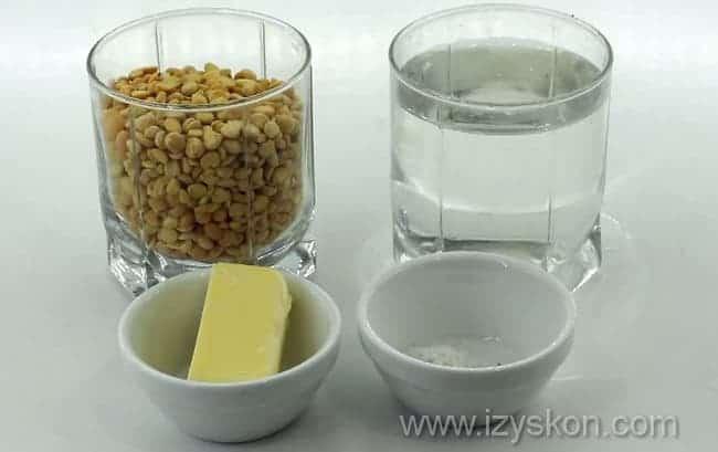 Для приготовления вкусно гороховой каши возьмем такие продукты