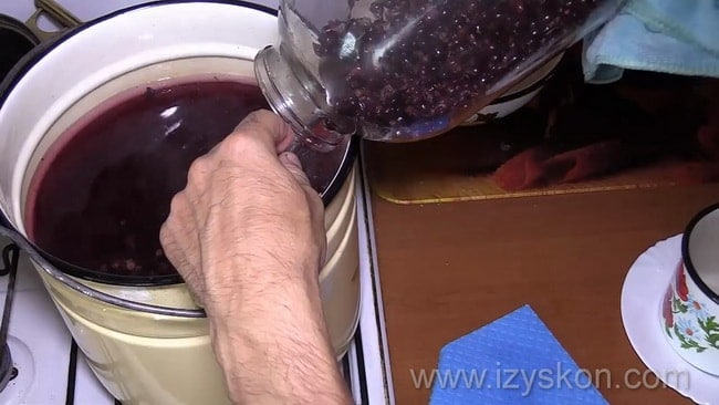 Перед тем как сварить компот из черной смородины отварите сироп.