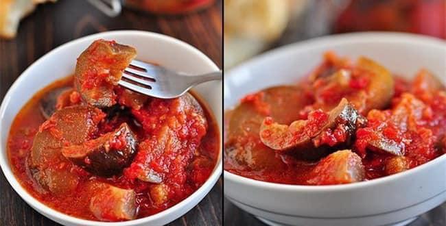 Как приготовить баклажаны в томатном соусе на зиму по пошаговому рецепту с фото