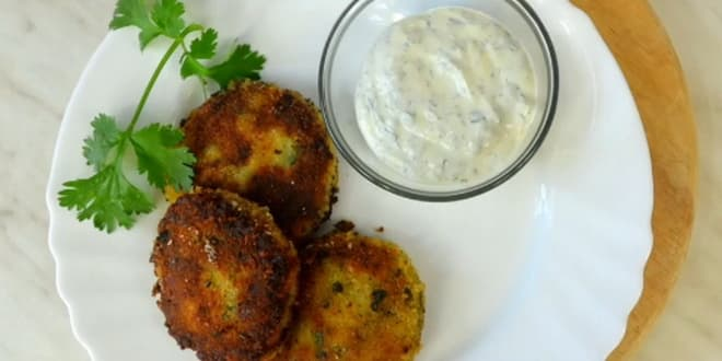 Pictures on request Pea cutlets with garlic