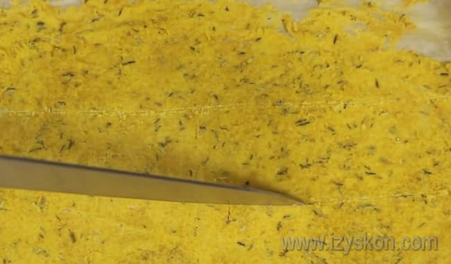 Вот мы и приготовили начос в домашних условиях по простому рецепту, осталось только разрезать корж на кусочки.